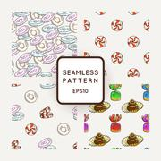 Set of Vector Candy, Bows and Muffins Seamless Patterns. Sweet Party Texture Stock Illustration