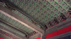 Ceiling design in traditional old Chinese pavilions. Forbidden City. Beijing Stock Footage