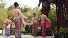 Dancers in traditional clothes making show at Sanctuary of Truth Stock Footage