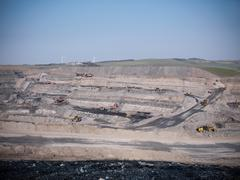 High angle view of opencast coalmine Stock Photos