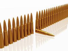 Bullets 9mm ammo row - stock illustration