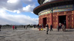 Tourists at the Hall of Prayer for Good Harvests in Temple of Heaven. Beijing Stock Footage