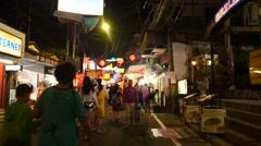Walking street in Pattaya night time lapse - stock footage