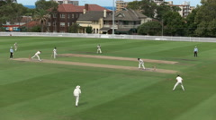 Wide view of a sydney grade cricket match Stock Footage