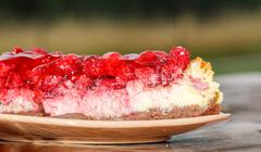 Raspberry cake on plate Stock Photos
