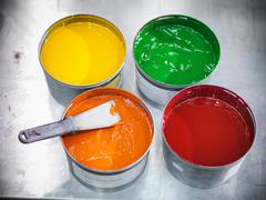 Selection of printer inks in printworks Stock Photos