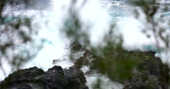 4K HD: Waves Crashing On Rocks/Title Plate/With Audio Stock Footage
