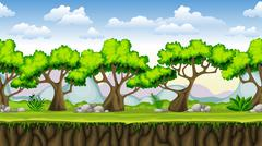 Stock Illustration of Seamless nature cartoon background, vector illustration with separate layers