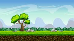Seamless nature cartoon background, vector illustration with separate layers - stock illustration