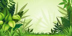 Illustration jungle landscape - stock illustration