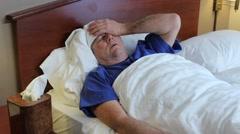 Bedridden mature man - stock footage