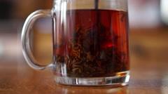 Movement of tea leaves - stock footage