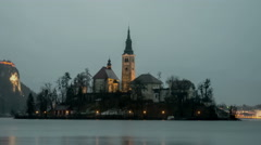 Bled Church at night - stock footage