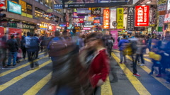 People Crowd at Pedestian Near Mongkok Mtr Station - stock footage