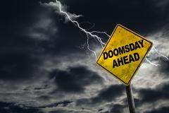 Doomsday Ahead Sign With Stormy Background Stock Photos