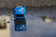PRAGUE, CZECH REPUBLIC – MARCH 23: Vintage tinwork toy car with Volkswagen l - stock photo