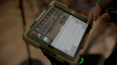 Sound engineer with iPad Stock Footage