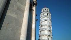 Pisa, Piazza Dei Miracoli Leaning Tower And Cathedral Stock Footage