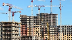 Construction skyscrapers moving up Stock Footage
