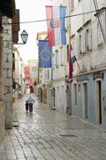 Rab, Croatia - August 5, 2015: Old Town of Rab, Croatian island famous for it Stock Photos