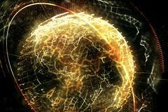 3d illustration of detailed virtual planet Earth. - stock illustration