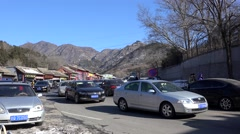 Road traffic in the gate of Badaling Great Wall China at winter. Stock Footage