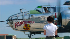 "North American B-25 Bomber ""Panchito""  Run Up Stock Footage"