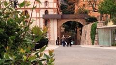 People visit abbey Santa Maria de Montserrat in Monistrol de Montserrat, Spain. Stock Footage