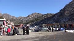 Base site of Badaling Great Wall China at winter. Stock Footage