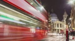 London, UK -  St Paul's Cathedral London, street Time-Lapse at night Stock Footage