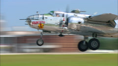 "North American B-25 Bomber ""Panchito""  Landing CU Stock Footage"