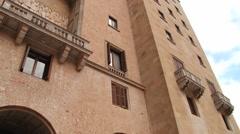 Facade of the abbey Santa Maria de Montserrat in Monistrol de Montserrat, Spain. Stock Footage