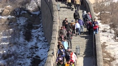 Crowd tourists at Badaling Great Wall of China at winter. Stock Footage