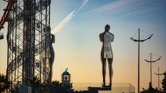 Batumi, Georgia - Time lapse of Moving sculpture Ali and - stock footage