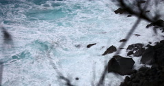4K HD: Waves crashing on rocks with sound, Hawaii Coastline Stock Footage