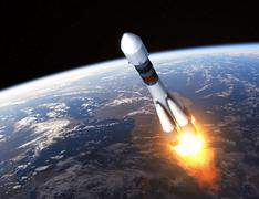 Cargo Carrier Rocket Launch - stock illustration