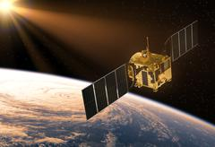 Satellite In The Rays Of Sun - stock illustration