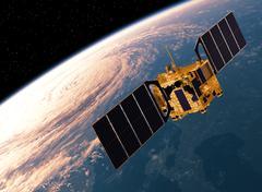 Satellite Orbiting Earth. 3D Scene. - stock illustration