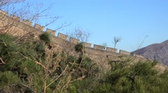 Great Wall of China in Badaling at winter. Stock Footage