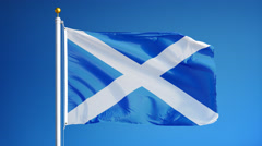Scotland flag in slow motion seamlessly looped with alpha Stock Footage