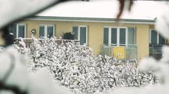 Snowy trees near a block of flats Stock Footage