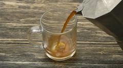 Moka pot and pouring coffee Stock Footage