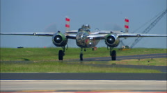 "North American B-25 Bomber ""Panchito""  Taxi In Slo Mo Stock Footage"