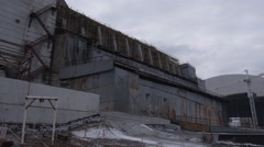 New safe shelter. Exclusive footage from the roof of the Chernobyl power plant - stock footage