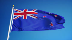New Zealand flag in slow motion seamlessly looped with alpha - stock footage