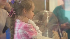 Kids Are Learning a Craft at Confectionery Looking Through Glass Sweets Factory Stock Footage