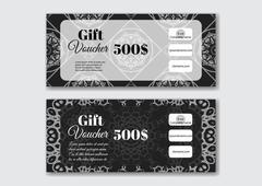 Gift voucher design templates with swirl pattern. - stock illustration