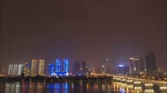 Night time lapse of the skyline of Changsha in central China Stock Footage
