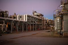 Infrastructure of oil refinery Stock Photos