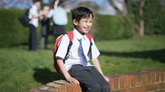 4K Portrait of happy young friends together, outdoors in school playground Stock Footage